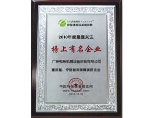 恒东2010年度受关注榜上有名企业证书